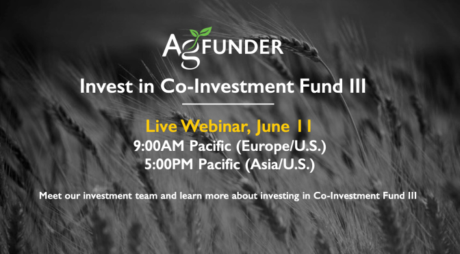 Sign Up for Investor Webinar to Learn More about FoodTech & Agtech CoInvestment Fund III