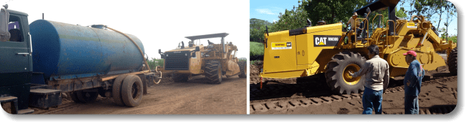 Soil Stabilization Automated methods - AggreBind & water being applied