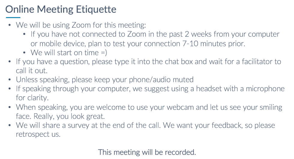 aceonline meeting etiquette
