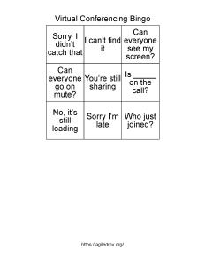 Virtual Conferencing Bingo 3x3