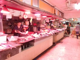 The meat counter at the market.