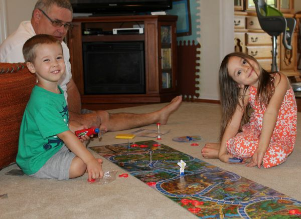 "Grandpa playing ""Eye Found It"" with Maggie & Jacob"