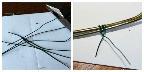 Cut approximately 4 inch pieces of floral wire. Place one of your wire hoops on top of the other and tie them together with the cut pieces of floral wire. Snip off the excess.