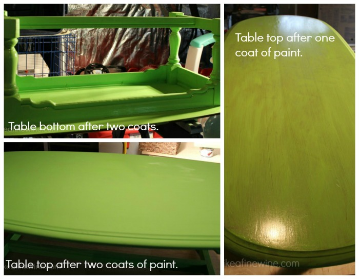 Table with coats of paint.