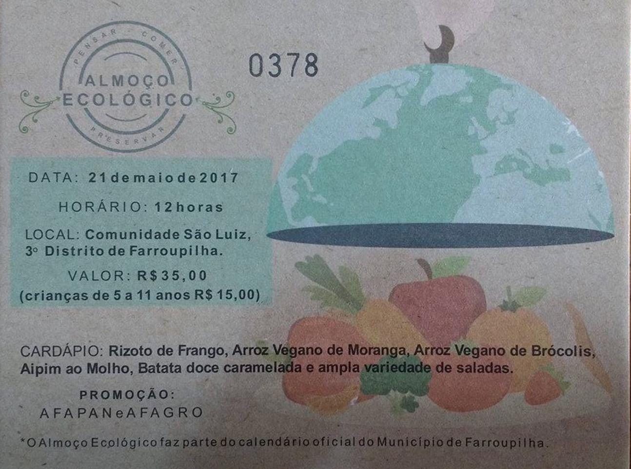 AFAPAN realiza Almoço Ecológico em Farroupilha dia 21/5/2017