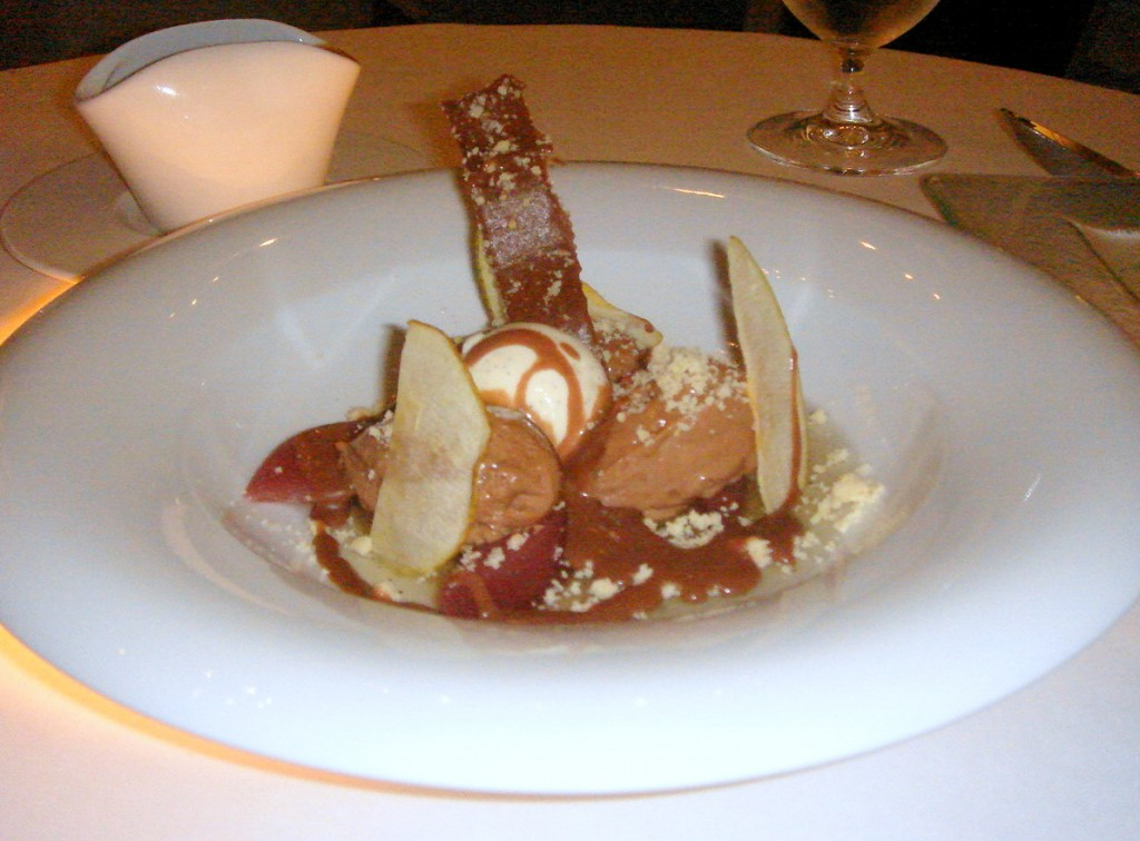 Poached pear and chocolate mousse