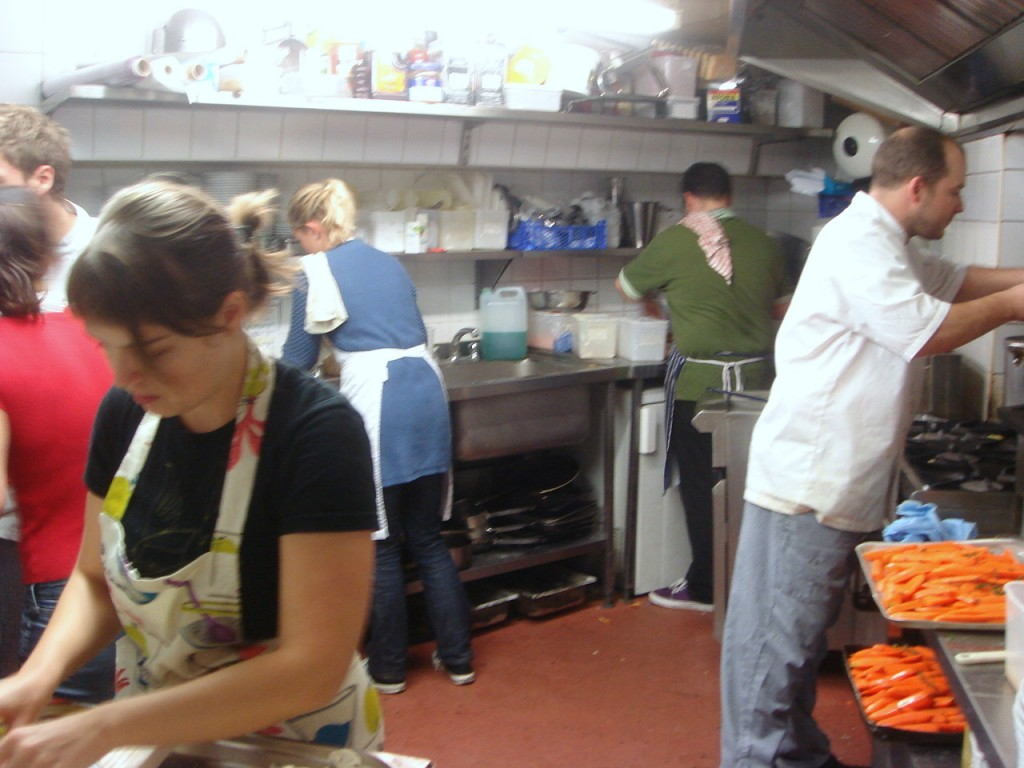 All hands on deck in the kitchen
