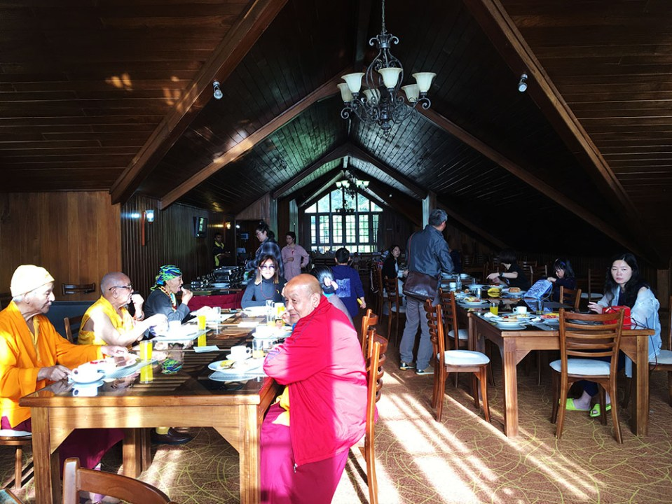monks having breakfast in the hotel nuwara eliya sri lanka