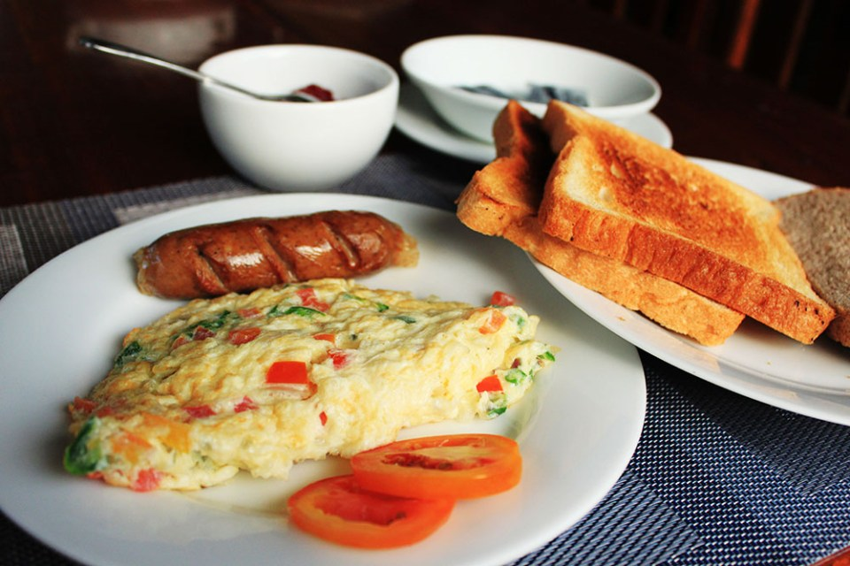 delicious omelet breakfast and birdwatching at m.p.s. village sri lanka