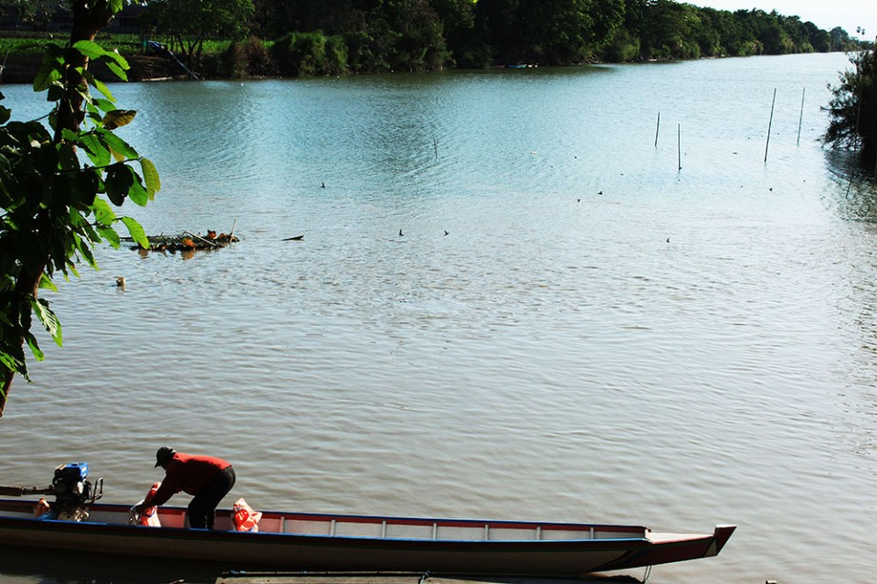 a boat floating at tempe lake south sulawesi indonesia