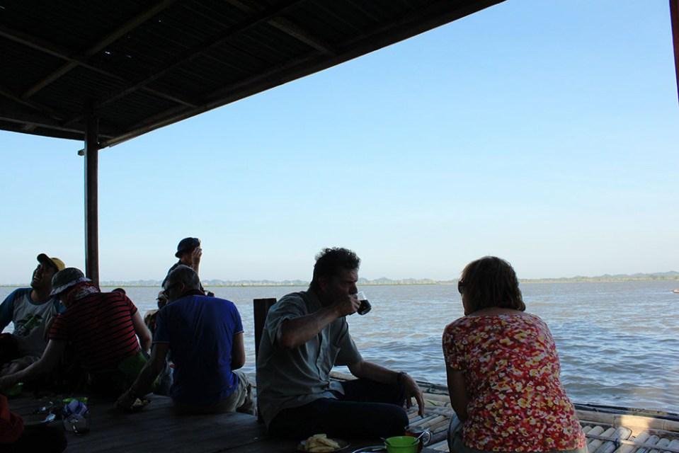tourists enjoying sunset at floating houses tempe lake sulawesi indonesia