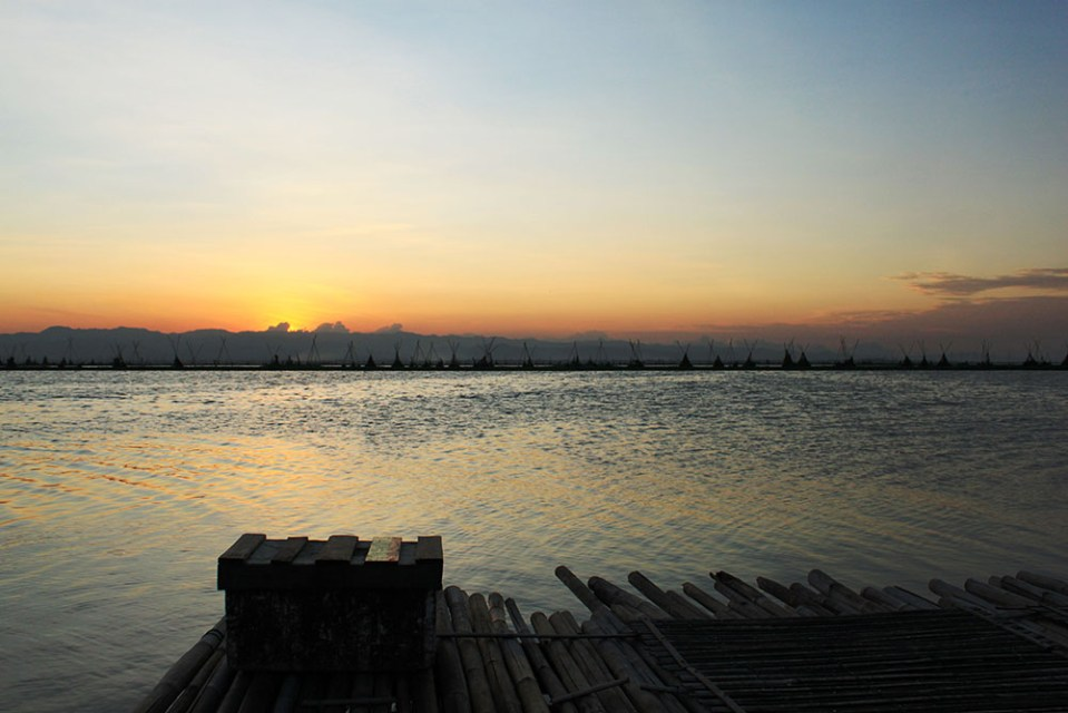 sunset at floating house danau tempe indonesia