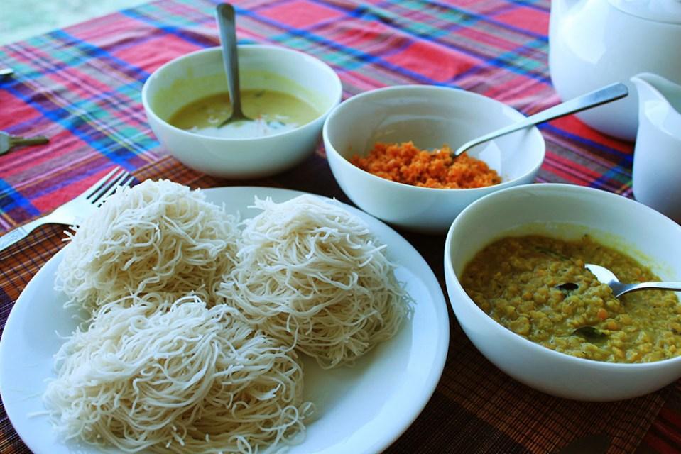 string hopper and curry sri lanka breakfast