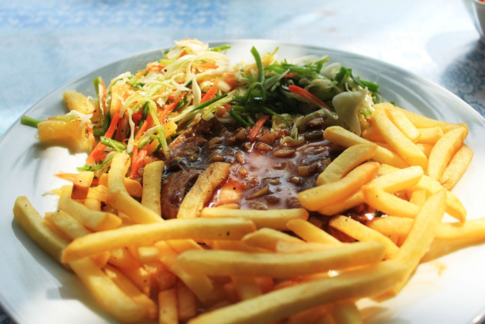 grilled tuna with french fries at coco beach talpe sri lanka