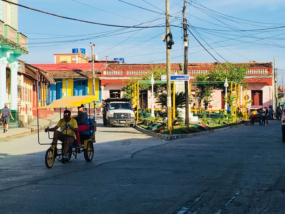 bicitaxi in cuban street in the morning