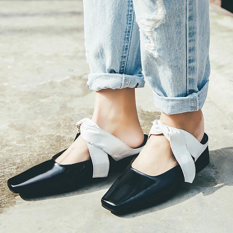 black feminine white ribbon squared-toe shoes