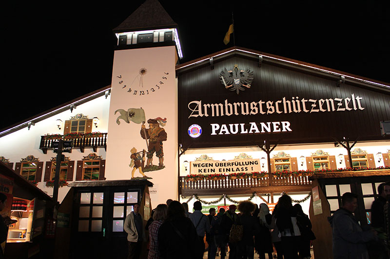 paulaner tent oktoberfest luna park munich germany night