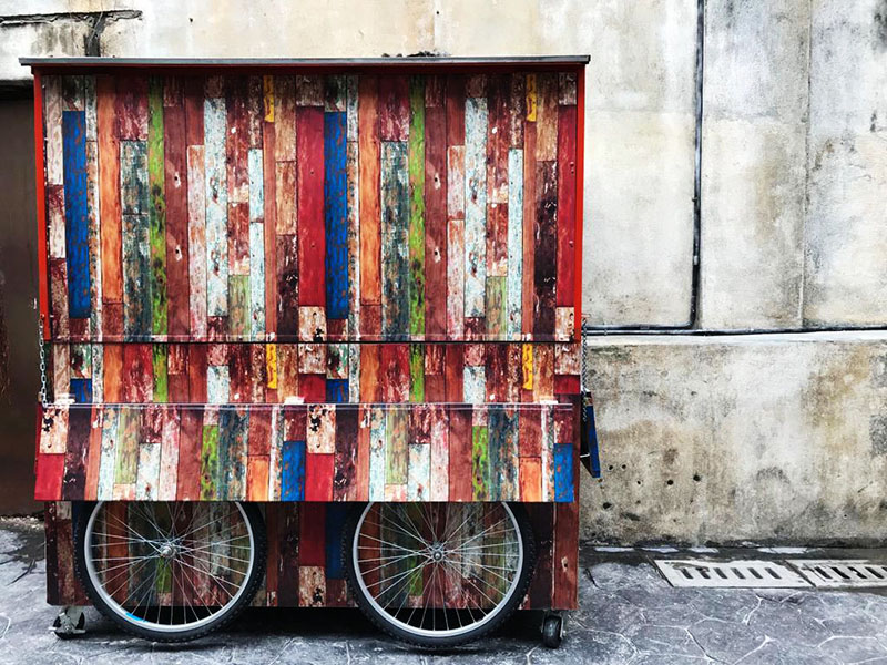 agirlnamedclara colorful vintage cart lorong panggung chinatown kl