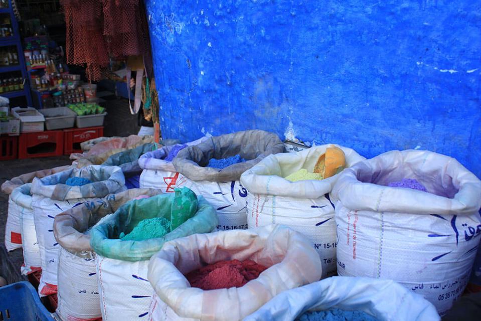various colour powder chefchaouen morocco_agirlnamedclara