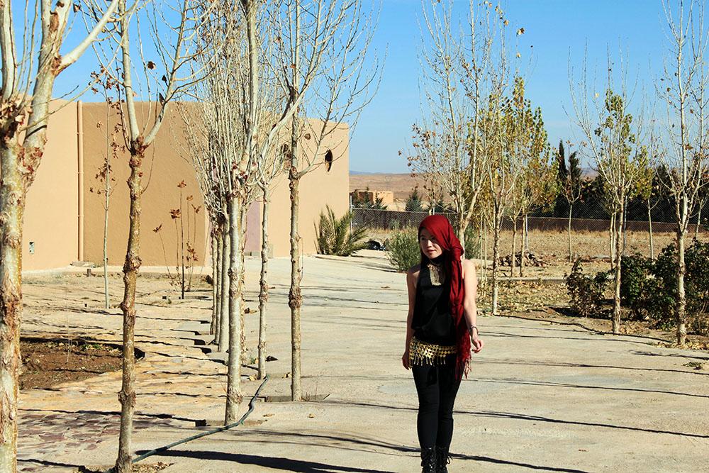 agirlnamedclara_girl morocco style clothing black red head scarf gold shimmy belt