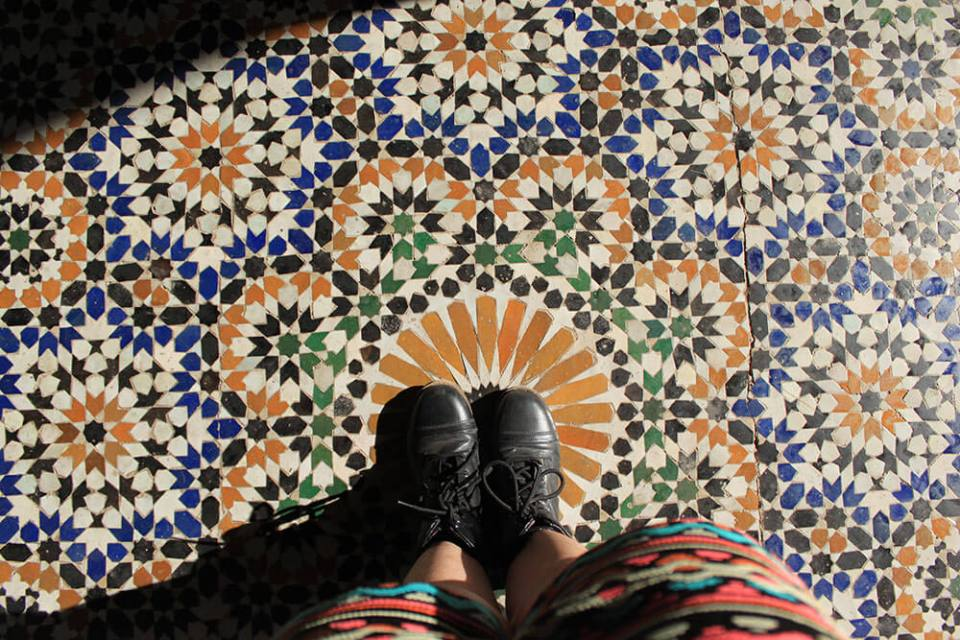 Bahia Palace colorful floor tiles black boots agirlnamedclara