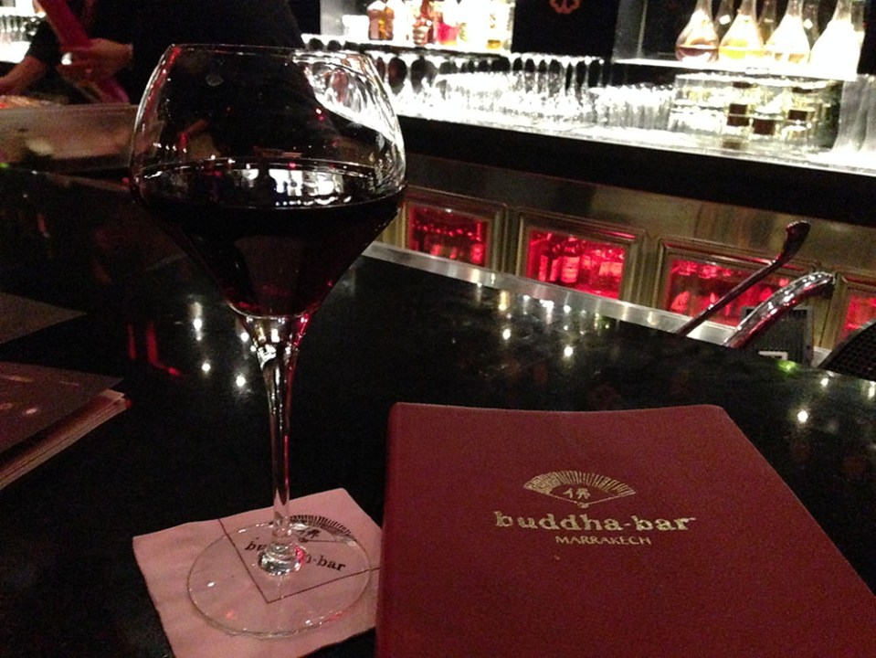 red wine drink menu on the table buddha bar marrakech morocco agirlnamedclara