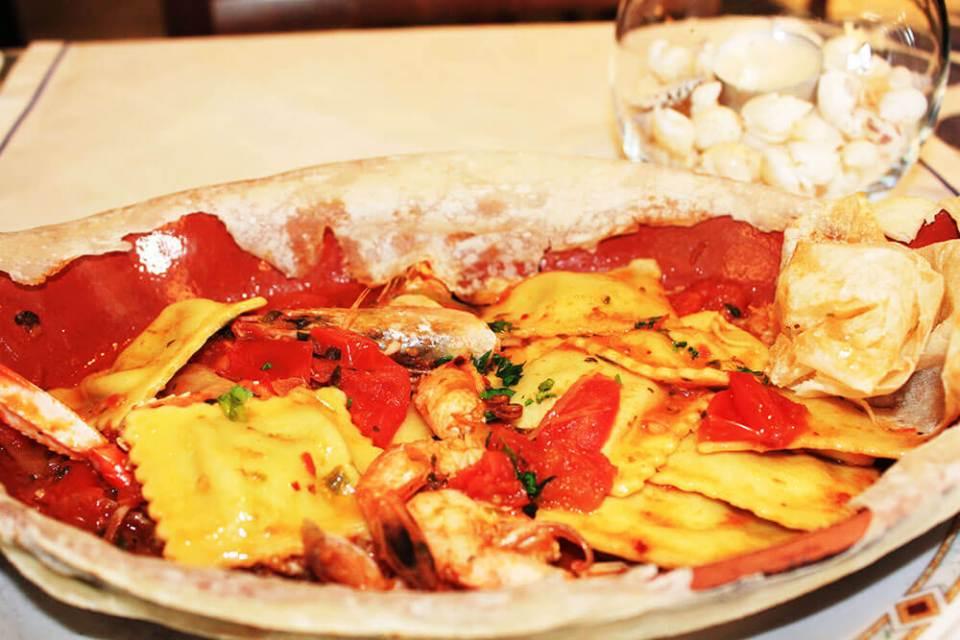 Seabass ravioli with shrimp and scampi Ristorante Miky Monterosso Cinque Terre Italy authentic dish agirlnamedclara