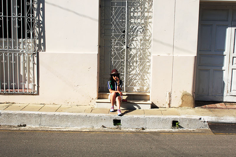 asian girl traveler drink cuba libre on the street outside casa cuba virtual tour_agirlnamedclara