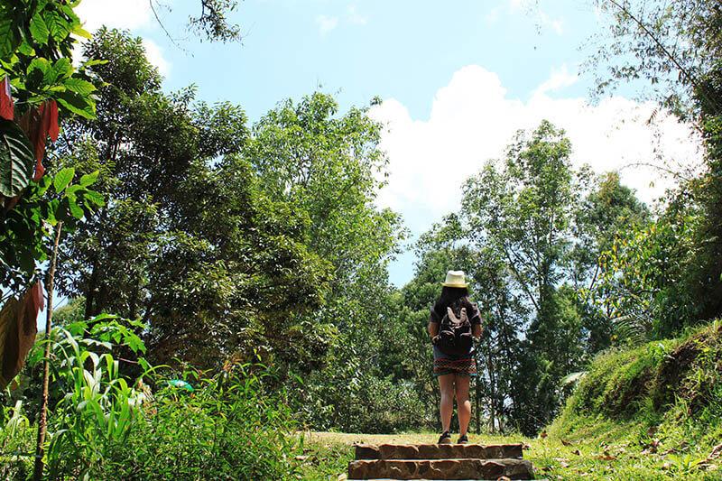 girl with backpack walking in a jungle londa toraja trip indonesia_agirlnamedclara