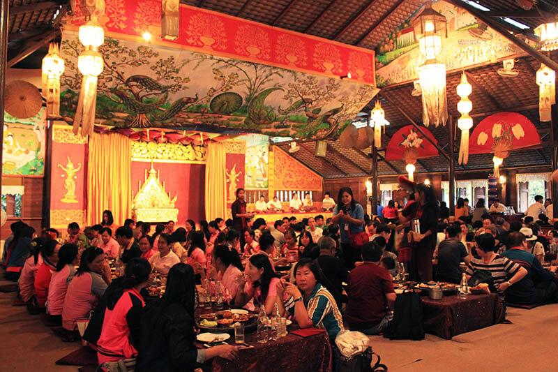 tourists sitting for khantoke dinner northern thai food chiang mai_agirlnamedclara