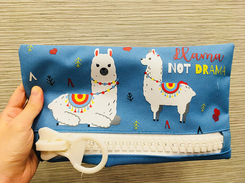 drama llama pencil case blue giant zipper cute_agirlnamedclara