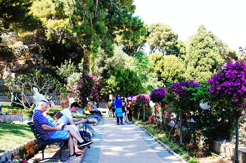 people sit read newspaper in capri garden flower italy summer agirlnamedclara