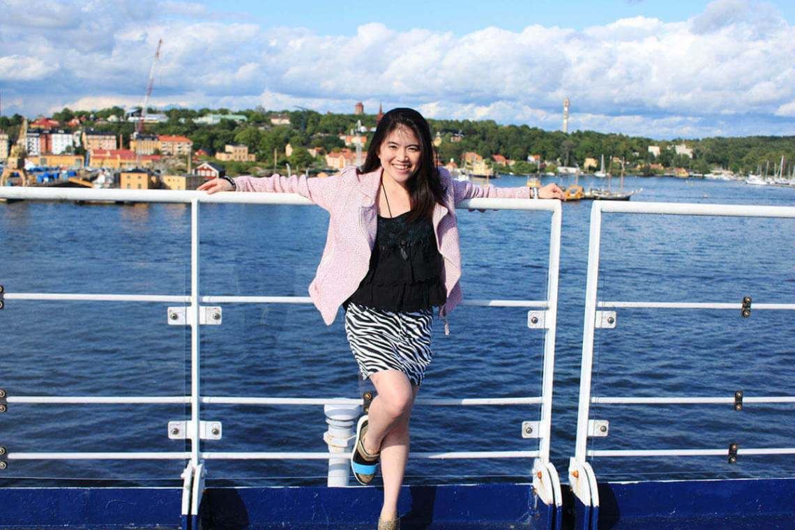 girl smile gabriella cruise deck stockholm to finland sea background agirlnamedclara