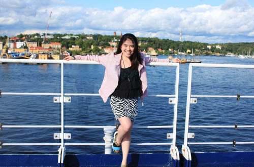 girl smile gabriella cruise deck stockholm to finland sea background agirlnamedclara