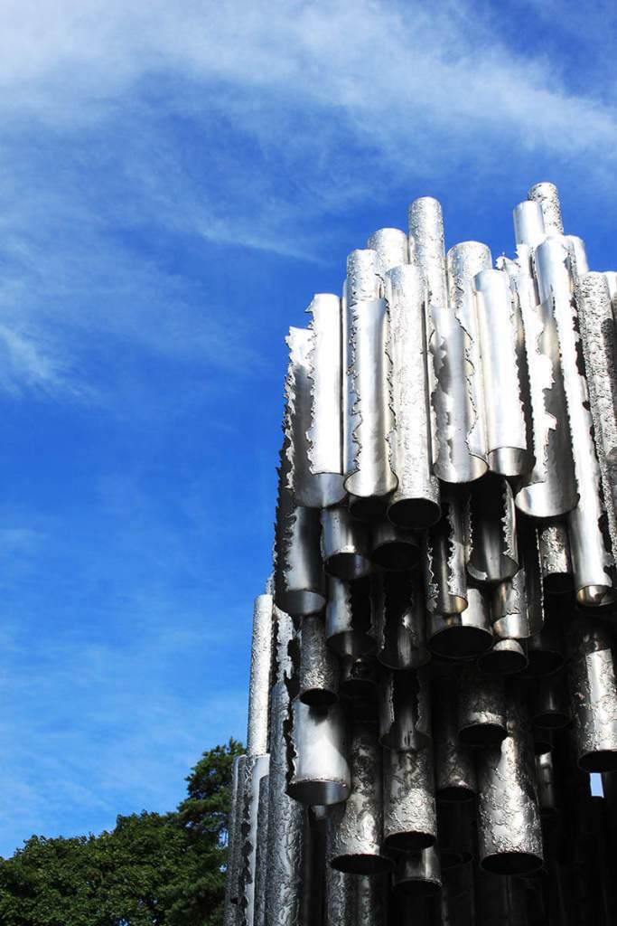 melting organ pipe sibelius monument helsinki blue sky background agirlnamedclara