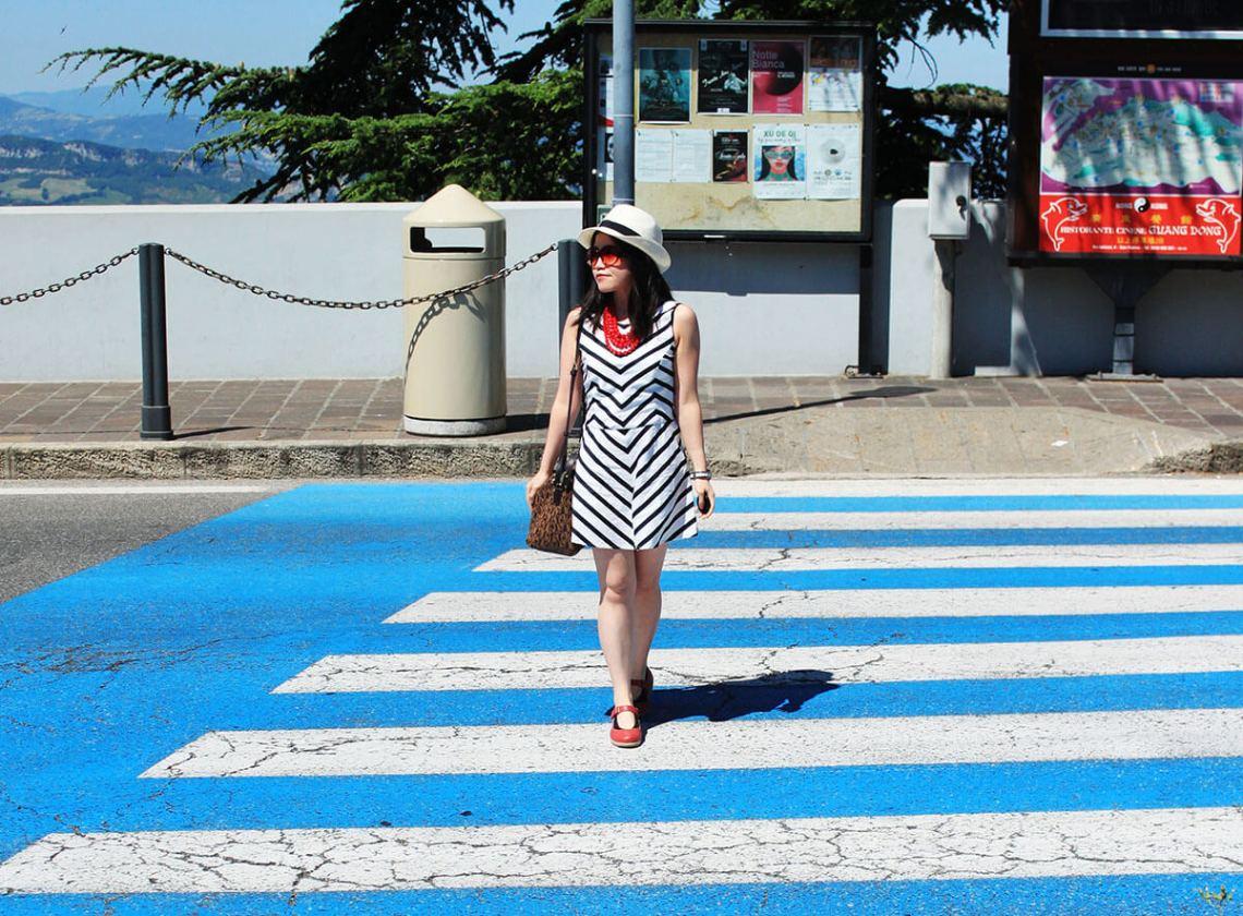 stylish fashion girl red necklace shoes blue white cross road san marino italy agirlnamedclara