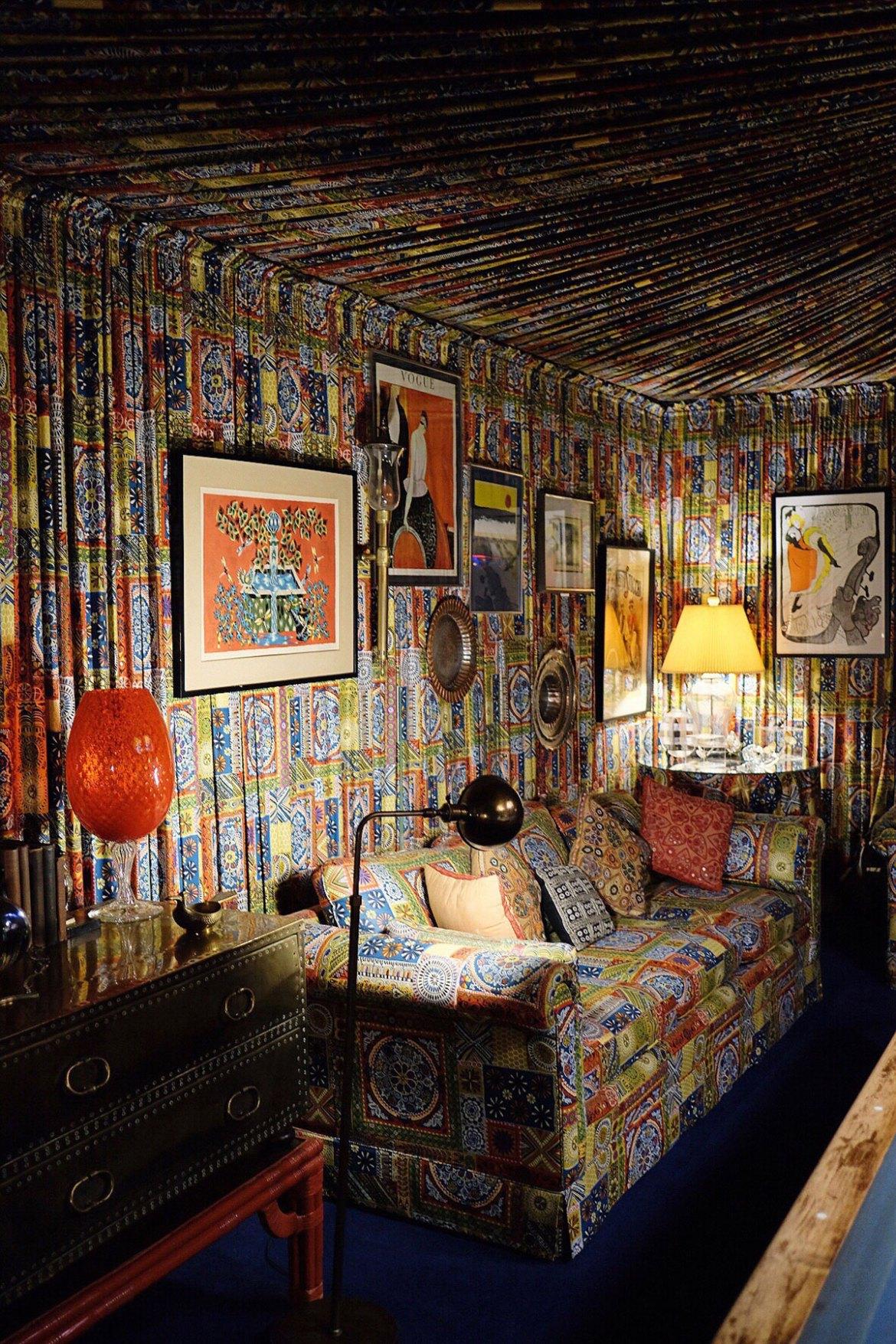 Graceland's Billiard Room, all in paisley.