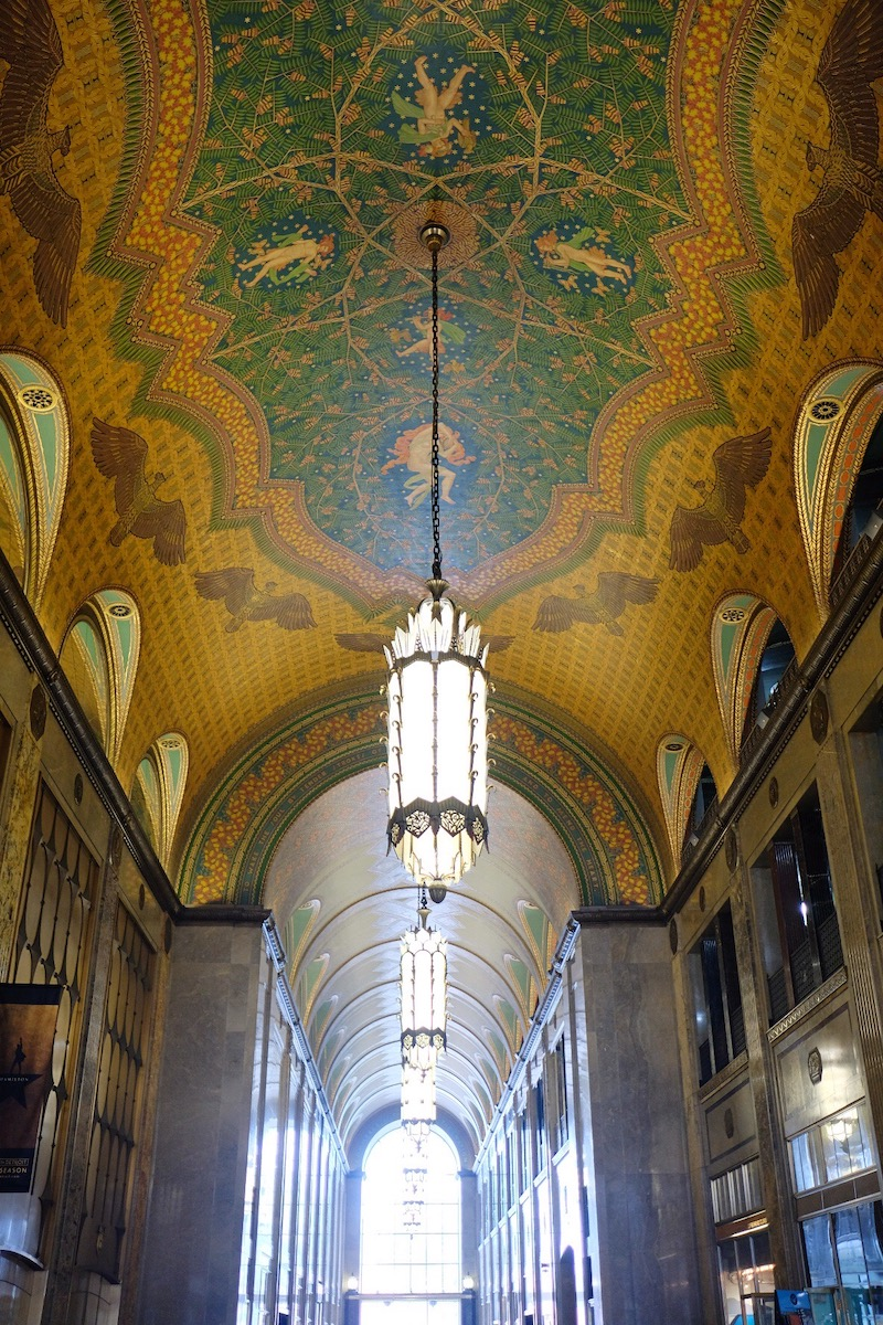 Interior lobby of Fisher Building in Detroit