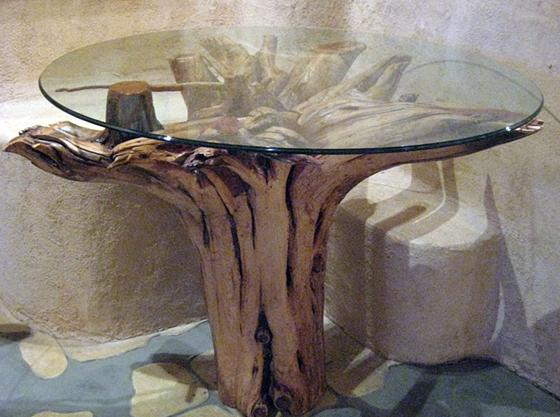 gold tree stump side table