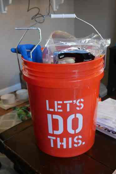 bucket filled with supplies