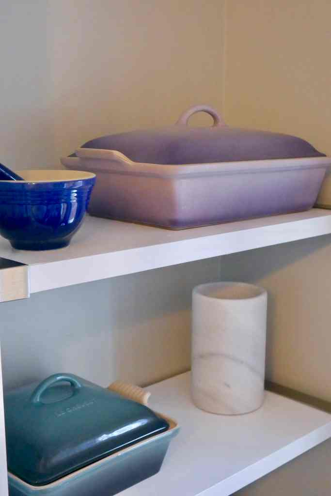 ceramic cookware on shelf