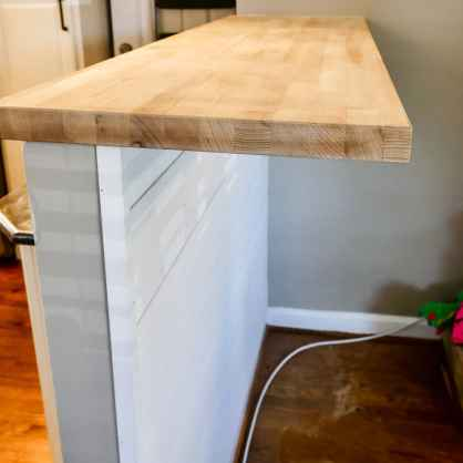 butcher block sanded and ready for sealant
