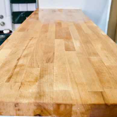 butcher block counter sanded down