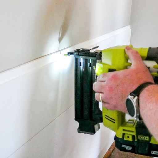 using our finish nailer to install shiplap