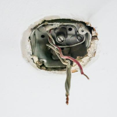 electrical hanging from ceiling