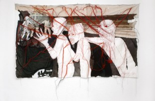 AIMED MURDER / newspaper sewing fabric on textile / 152x91cm / 2006