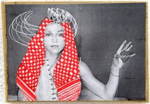 PALESTINIAN MADONNA (Madonna) / drawing on photocopy, glued on wood / 2010