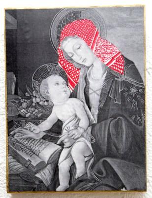 PALESTINIAN MADONNA (S. Botticelli) / drawing on photocopy, glued on wood / 2010