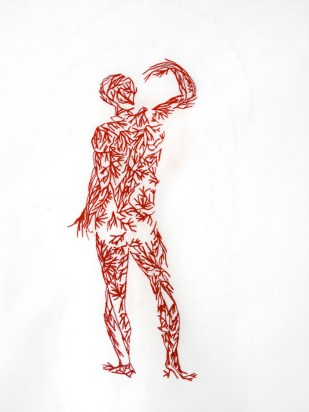 VEINS # 1/ sewed drawing with red thread on white fabric / 50x50 cm / 2013