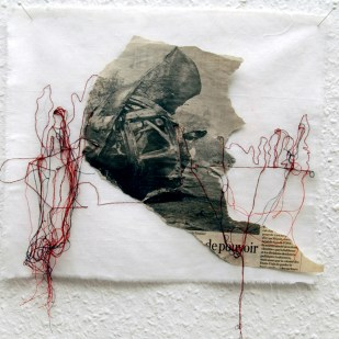 FILI DI ATTUALITA#6 / newspaper sewing on fabric / 30×30 cm / 2006-2010